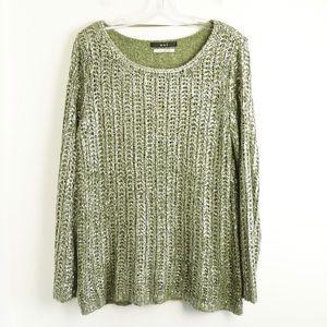 NWOT OUI metallic green pale gold knit 10 top